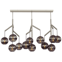 Sedona Triple Chandelier Triple Transparent Smoke Satin Nickel No Lamp