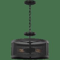 Gereon Two Light Semi-Flush Convertible Pendant Black Bulbs Inc
