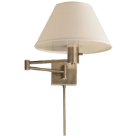 Classic Swing Arm Wall Lamp in Antique Nickel with Linen Shade