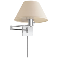 Classic Swing Arm Wall Lamp in Polished Nickel with Linen Shade
