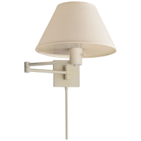 Classic Swing Arm Wall Lamp in White with Linen Shade