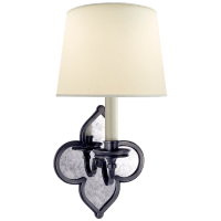 Lana Single Sconce in Gun Metal and Antique Mirror with Natural Percale Shade