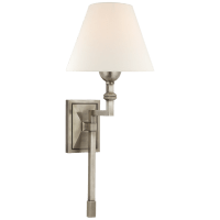 Jane Medium Single Tail Sconce in Antique Nickel with Linen Shade