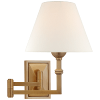 Jane Swing Arm Wall Light in Hand-Rubbed Antique Brass with Linen Shade