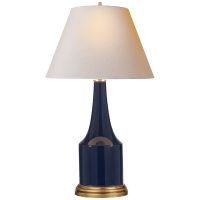 Sawyer Table Lamp in Midnight Blue Porcelain with Natural Paper Shade