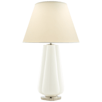 Penelope Table Lamp in White with Natural Percale Shade