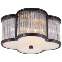 Basil Small Flush Mount in Gun Metal and Clear Glass Rods with Frosted Glass