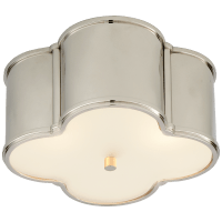 Basil Small Flush Mount in Polished Nickel with Frosted Glass