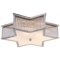 """Sophia 17"""" Flush Mount in Polished Nickel and Clear Glass Rods with Frosted Glass"""