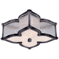 Lana Small Flush Mount in Gun Metal and Clear Glass Rods with Frosted Glass