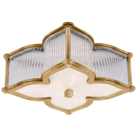 Lana Small Flush Mount in Natural Brass and Clear Glass Rods with Frosted Glass