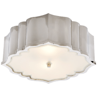 Balthazar Flush Mount in Polished Nickel with Frosted Glass