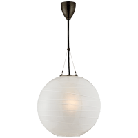 Hailey Medium Round Pendant in Gun Metal with Frosted Glass