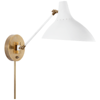 Charlton Wall Light in White and Hand-Rubbed Antique Brass