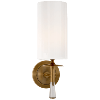 Drunmore Single Sconce in Hand-Rubbed Antique Brass and Crystal with White Glass Shade