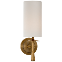 Drunmore Single Sconce in Hand-Rubbed Antique Brass with Linen Shade
