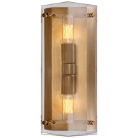 Clayton Wall Sconce in Crystal and Hand-Rubbed Antique Brass