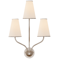 Montreuil Small Wall Sconce in Burnished Silver Leaf with Linen Shades