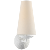 Fontaine Single Sconce in Plaster with Linen Shade