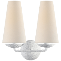 Fontaine Double Sconce in Plaster with Linen Shades