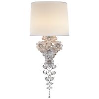 Claret Tail Sconce in Burnished Silver Leaf with Linen Shade