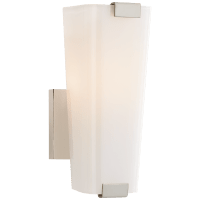 Alpine Small Single Sconce in Polished Nickel with White Glass