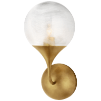 Cristol Small Single Sconce in Hand-Rubbed Antique Brass with White Glass