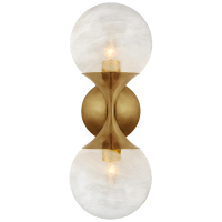 Cristol Small Double Sconce in Hand-Rubbed Antique Brass with White Glass
