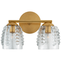 Gisela Double Sconce in Hand-Rubbed Antique Brass with Seeded Glass