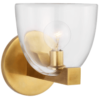 Carola Single Sconce in Hand-Rubbed Antique Brass with Clear Glass