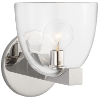 Carola Single Sconce in Polished Nickel with Clear Glass
