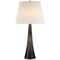 Dover Table Lamp in Aged Iron with Linen Shade