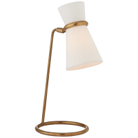 Clarkson Table Lamp in Hand-Rubbed Antique Brass with Linen Shade