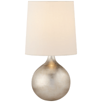Warren Mini Table Lamp in Burnished Silver Leaf with Linen Shade