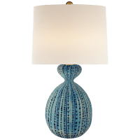 Gannet Table Lamp in Pebbled Aquamarine with Linen Shade