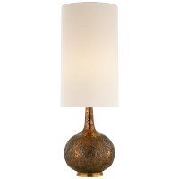 Hunlen Table Lamp in Chalk Burnt Gold with Linen Shade