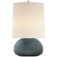 Sumava Medium Table Lamp in Blue Lagoon with Linen Shade