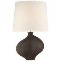 Celia Large Right Table Lamp in Stained Black Metallic with Linen Shade