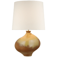 Celia Large Right Table Lamp in Yellow Oxide with Linen Shade