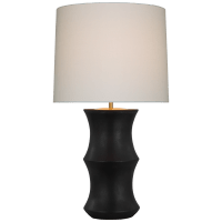 Marella Medium Table Lamp in Stained Black Metallic with Linen Shade