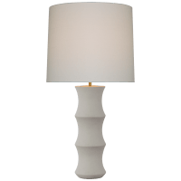 Marella Large Table Lamp in Porous White with Linen Shade