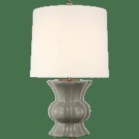 Lavinia Medium Table Lamp in Shellish Gray with Linen Shade