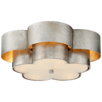 Arabelle Large Flush Mount in Burnished Silver Leaf with Frosted Acrylic