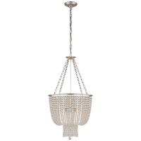 Jacqueline Chandelier in Burnished Silver Leaf with Clear Glass