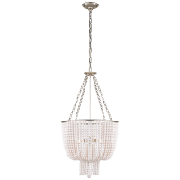 Jacqueline Chandelier in Burnished Silver Leaf with White Acrylic