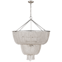 Jacqueline Two-Tier Chandelier in Burnished Silver Leaf with Clear Glass