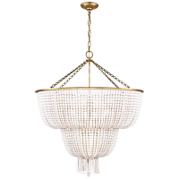 Jacqueline Two-Tier Chandelier in Hand-Rubbed Antique Brass with White Acrylic