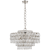 Liscia Medium Chandelier in Polished Nickel with Crystal