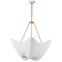 Cosima Large Chandelier in Hand-Rubbed Antique Brass with Plaster White Shade