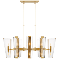 Alpine Medium Linear Chandelier in Hand-Rubbed Antique Brass with Clear Glass